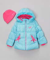Hawke & Co Turquoise Foil Dot Hooded Puffer Jacket & Beanie - Girls
