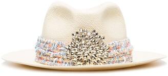 Maison Michel Crystal-Embellished Applique Fedora Hat