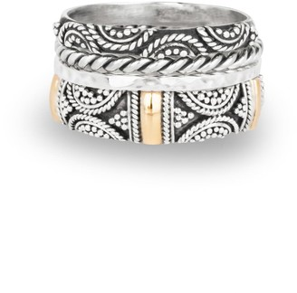 Aquila Jewellery Mixed Metal Stacking Rings Set Gilded With 18K Gold - Brighton