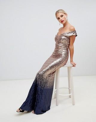 Asos City Goddess ombre sequin embellished maxi dress-Gold