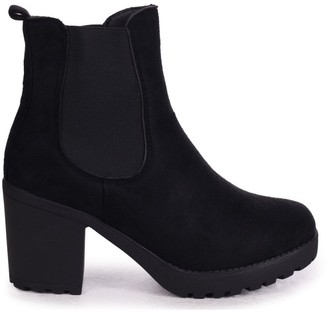 Linzi ANTONIA - Black Suede Chunky Chelsea Style Boot With Heavy Cleated Sole