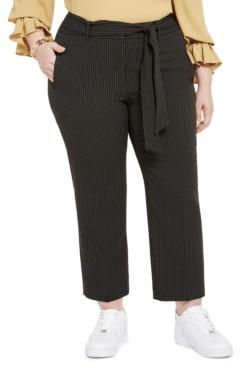 Bar III Trendy Plus Size Striped Tie-Waist Pants, Created for Macy's