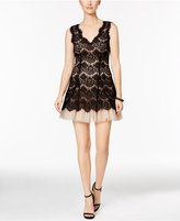 Betsy & Adam Petite Lace Tulle A-Line Dress