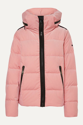 Goldbergh Emmelina Hooded Quilted Velvet Down Ski Jacket - Baby pink
