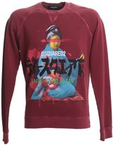 DSQUARED2 Vintage Printed Burgundy Cotton Sweater