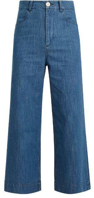 Masscob High-rise wide-leg cropped jeans