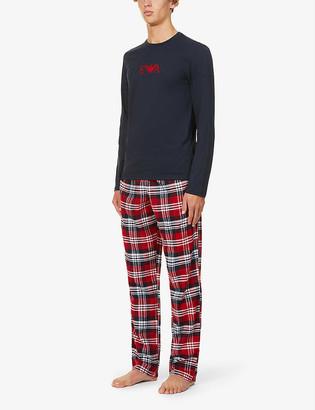 Emporio Armani Checked cotton-flannel pyjamas