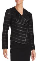 Bagatelle Solid Pleather Striped Jacket