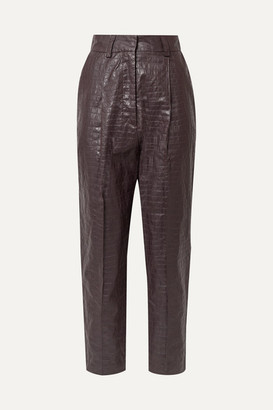 Beaufille Nova Croc-effect Coated-linen Tapered Pants - Plum