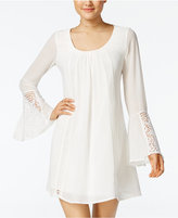 Sequin Hearts Juniors' Crochet Bell-Sleeve Dress