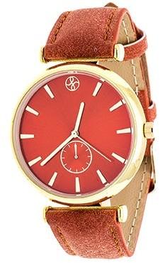 Xtreme Fortune NYC Boyfriend Women's Goldtone Orange Dial/ Orange Leather Strap Watch