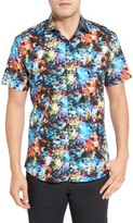 Jared Lang Men's Trim Fit Print Sport Shirt
