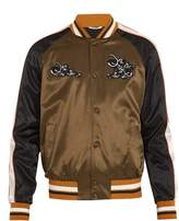 Valentino Panther-appliqué satin bomber jacket