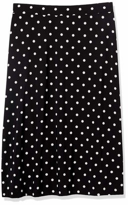 Kasper Women's Polka DOTS Printed Knit MIDI Flared Skirt