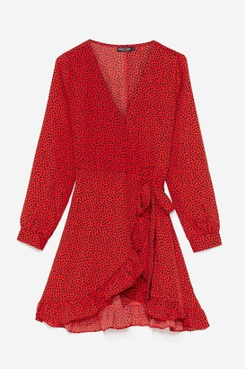 Nasty Gal Womens Red Spotty Wrap Dress with Ruffle Detailing