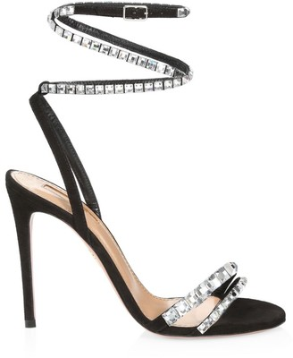 Aquazzura So Vera Crystal-Embellished Suede Sandals