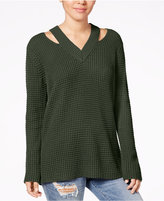Hooked Up by Iot Juniors' Cutout Collar Sweater