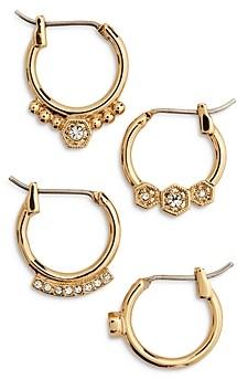 Luv Aj Full Bloom Cubic Zirconia Mismatch Hoop Earrings, Set of 4