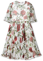 Dolce & Gabbana Ceremony Rose Print Chiffon Dress (Big Kids)