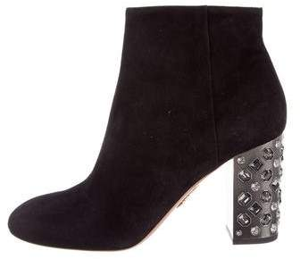 Aquazzura Party 85 Suede Booties w/ Tags