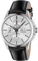 Gucci G-Timeless men's automatic chronograph black leather strap watch