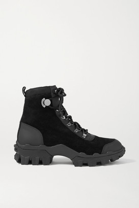 Moncler Helis Logo-print Leather-trimmed Suede Ankle Boots - Black