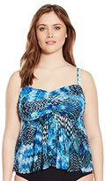 Fit 4 U Women's Plus-Size Scattered Elements Mesh Flared Bandeau Tankini