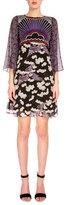 Mary Katrantzou 3/4-Sleeve Mixed-Print Dress, Trinket Cloud