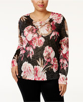 INC International Concepts Plus Size Metallic Floral-Print Sweater, Only at Macy's