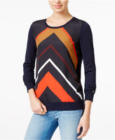 Tommy Hilfiger Printed Crew-Neck Sweater, Only at Macy's