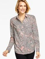 Talbots Long-Sleeve Paisley Collared Blouse
