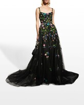 Thumbnail for your product : Monique Lhuillier Floral-Embroidered Tulle Ball Gown