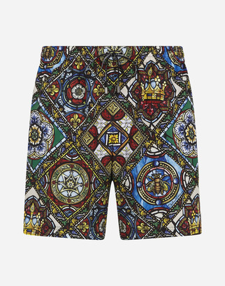 Dolce & Gabbana Medium Swimming Trunks With Stained Glass Window Style Print