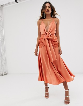 ASOS EDITION satin plunge strappy midi dress with tie front