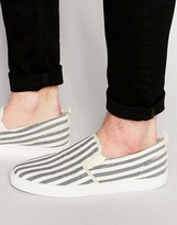 Asos Slip On Plimsolls In Navy And White Ticking Stripe