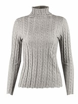 Peplum Pointe Womens Lightweight Turtleneck Cable Knit Long Sleeve Sweater Soft Pullover Top(Grey L/8)