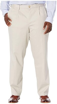 Dockers Big Tall Classic Fit Signature Khaki Lux Cotton Stretch Pants - Pleated (Burma Grey) Men's Casual Pants