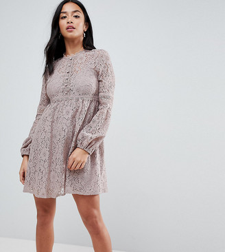 Little Mistress Petite All Over Lace Smock Dress With Bell Sleeve Detail