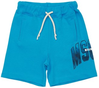 MSGM Cotton Sweat Shorts W/ Logo