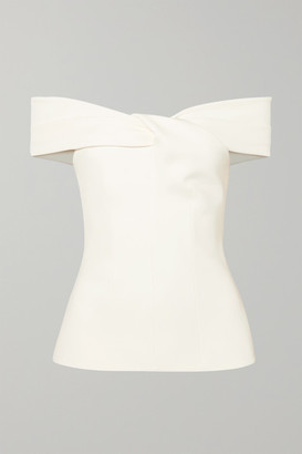 Safiyaa Off-the-shoulder Twist-front Crepe Top - Ivory