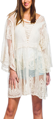 Barrington Women's Swimsuit Coverups IVORY - Ivory Sheer Embroidered Tunic - Women