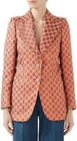 Gucci Metallic GG Logo Cotton Blend Blazer