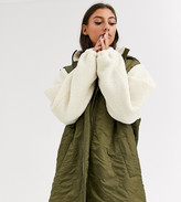 Asos Tall DESIGN Tall quilted jacket with borg sleeves in khaki
