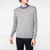 Paul Smith Men's Grey Marl Merino-Silk Contrast-Collar Sweater