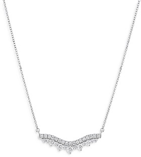Bloomingdale's Diamond Chevron Bar Pendant Necklace in 14K White Gold, 0.50 ct. t.w. - 100% Exclusive