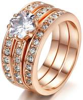 LILILEO Jewelry Luxury 3-Storey Suit Micro-Set High-Grade Zircon Plating Gold Engagement Ring For Women's Rings