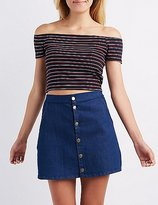 Charlotte Russe Striped Off-The-Shoulder Crop Top