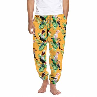 Mad Engine Men's Tropical Birds of Paradise Gold Satin Lounge Sleep Pants Small
