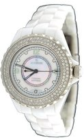 Le Château Women's Mid Size White Ceramic Watch with Crystal Bezel