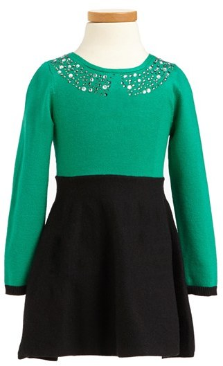 Milly Minis Rhinestone Collar Dress (Toddler Girls, Little Girls & Big Girls)